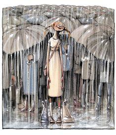 63 Trendy dancing in the rain painting umbrellas rainy days Rain Umbrella, Under My Umbrella, Walking In The Rain, Singing In The Rain, Rainy Night, Rainy Days, Rainy Mood, Arte Black, Rain Quotes