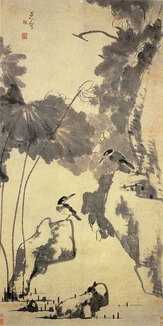 Lotus and Birds by Bada Shanren. Ink and wash painting. bird-and-flower painting