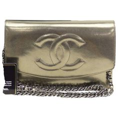 6be69ffd09b3 Wallet on Chain leather crossbody bag Chanel Wallet, Chanel Woc, Leather  Chain, Gold