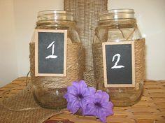 #Table Numbers #burlap #chalkboard #mason jars