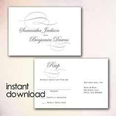 printable wedding postcard rsvp response card by birdiydesign