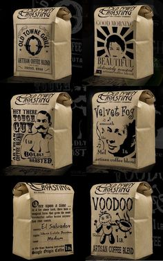the packaging for the Old Town Roasting Company's Artisan Coffees in Orange County PD Cool Packaging, Food Packaging Design, Coffee Packaging, Coffee Branding, Bottle Packaging, Brand Packaging, Coffee Label, Chocolate Packaging, Blended Coffee