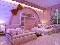 [For Girls Only] Lovely Hello Kitty bedroom decoration ideas … – Modern Bedroom Decoration Bedroom For Girls Kids, Cool Kids Bedrooms, Pink Bedrooms, Twin Girls, Hello Kitty Bedroom, Cat Bedroom, Bedroom Color Schemes, Bedroom Colors, Hello Kitty Zimmer