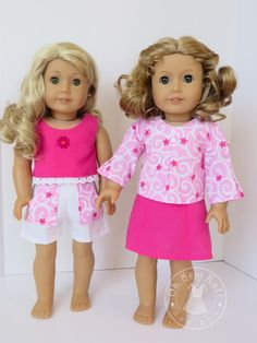 4 pc American Girl Doll Clothes - Skirt, blouse, top, shorts Gift Set - fits 18 inch dolls - pink and white
