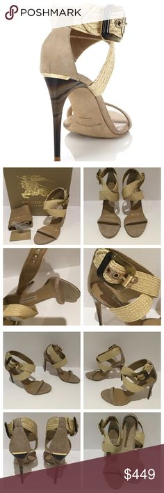 """BURBERRY MARHAM CRISSCROSS RAFFIA SUEDE SANDALS. BRAND NEW WITH TAGS  Soft suede sandals with crisscrossed raffia strap EU Size 40 Marble heel, 4"""" (100mm) Kinskin/viscose upper Box & Dust bag Buckled ankle strap Leather lining and sole Padded insole Made in Italy      Smoke / Pet Free Environment. Burberry Shoes Heels"""