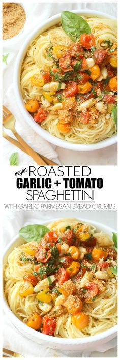 Roasted Garlic Tomato Spaghettini with Garlic Parmesan Bread Crumbs | http://ThisSavoryVegan.com