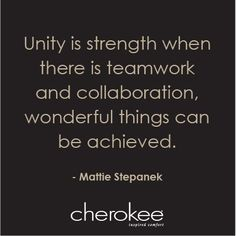 Unity is Strength when there is Teamwork and Collaboration. Wonderful Things can be Achieved