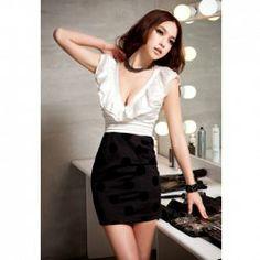 $13.21 Sexy Deep V-Neckline Ruffles Collar Dot Patterns Mini Dress For Women for mel :)
