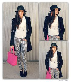 """--- FOLLOW MY FASHION PAGE:➜ https://www.facebook.com/DressISart ✿ MY LOOK: """"Black & White"""" ✿ Look features the classic black and white, to give a touch of color I paired a fuchsia bag! ✿  Coat: """"Fiona C."""" Sweater: """"Louise Orop""""  Pants: """"Itaimask"""" Decolté: """"Tatoo"""""""