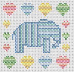 Cross stitch pattern elephant with hearts by MKDesignArt on Etsy, £1.50