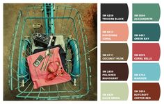 Paint colors from Chip It! by Sherwin-Williams  coral, turquoise, blue, brown, red