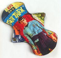 "Cloth Menstrual Pad 8"" regular absorbency - Star Trek OS comic print 100% cotton top"