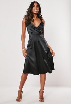 Calling all taller ballers. Shop our missguided tall range, for babes and over. a black satin dress featuring a wrap front and cami straps. Tall Fit Polyester Elastane Noara wears a UK size 8 / EU size 36 / US size 4 Black Satin Dress, Satin Midi Dress, Black Midi Dress, Satin Dresses, Midi Dresses, Prom Dresses, Formal Dresses, Clothing For Tall Women, Clothes For Women