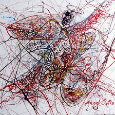Abstract expresionism Angel caido acrylic en canvas 105 x 105 cm. $ 500 usd.