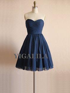Lady dress/bridesmaid dress/wedding dress/sweetheart neckline/Chiffon Prom Dresses/Navy on Etsy, $62.51 CAD