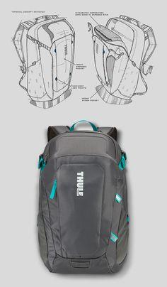 Thule EnRoute 2 Daypacks on Behance Backpack Bags, Fashion Backpack, Prop Design, Bag Design, Drawing Bag, Industrial Design Sketch, Tactical Bag, Back Bag, Product Design