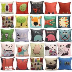 Cotton Linen Animal DOG CAT Pillow Case Throw Cushion Cover Home Sofa CAR Decor | eBay