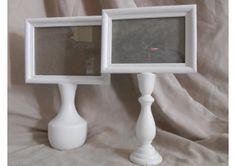 Set of two white pedestal frames - TheWeddingMile.com