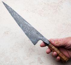 Boxelder Integral Damascus Chef Knife 242mm handmade by Saul Kokkinos-Kennedy of SKK Knives.
