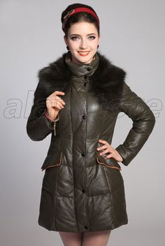 Real Leather Overcoat, Long Length Slim Designed Sheepskin Fur Coat With Fox Fur Collar For Women Now At Amazing Price