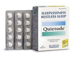 "Boiron Homeopathic Medicine Quietude Tablets for Restless Sleep, 60-Count Boxes (Pack of 3) by Boiron. $24.66. Regulated as a OTC (Over the Counter) drug by the FDA. No side effects, no drug interactions, no contraindications, and no ""masking"" of symptoms. A homeopathic medicine that works naturally. Fast-acting when taken at the onset of symptoms. Non-habit forming. Use Quietude for temporary relief of occasional sleeplessness and/or restless sleep.. Save 30% Off!"