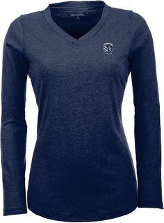b4de6954 Antigua Women's Sporting Kansas City Flip Navy (Blue) Shirt, Size: Large New