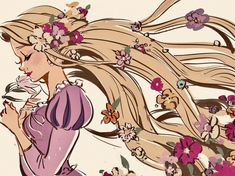 Rapunzel with beautiful flowers in her long golden hair Disney Fanatic, Disney Nerd, Disney Fan Art, Disney Love, Disney Magic, Disney Rapunzel, Disney Animation, Disney And Dreamworks, Disney Pixar