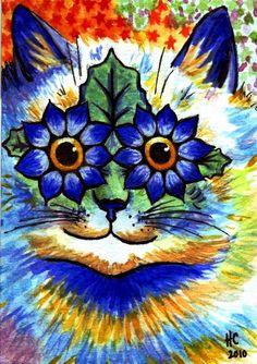 louis wain | louis wain - Look, flower kitty!