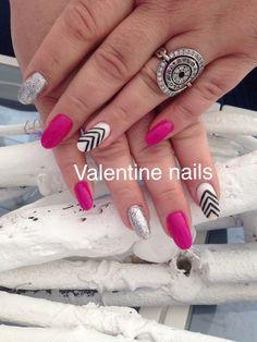 Acrylic nail design by Valentine's nail spa