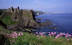 Antrim, the picturesque ruins of Dunluce Castle
