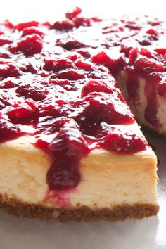Cheesecake with Fresh Cranberry Sauce (gluten free)