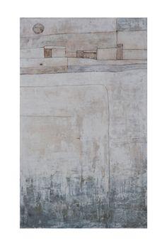 Radici. Cemento bianco, bitume, pigmenti naturali su tela cm 44 x 75. 2014