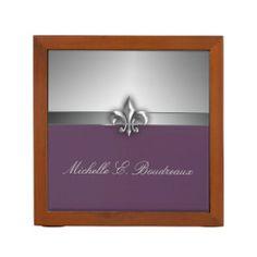 Personalized Modern Gray Eggplant Fleur de Lis Pencil Holder #fleurdelis #purple #penholder #officeset