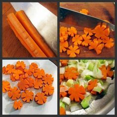 Dress up your soup and salads with these easy carrot flowers. You can use these carrot flowers to make delicious soup/dish. Cute Food, Good Food, Deco Fruit, Carrot Flowers, Fruits And Veggies, Vegetables, Soup Dish, Creative Food Art, Food Carving
