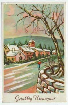 Postcards - Greetings & Congrads # 527 - Happy New Year - Winter Scene