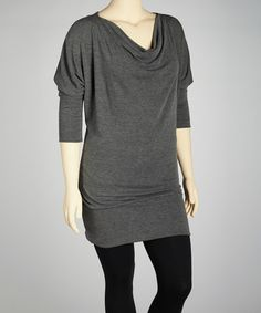 Take a look at this Charcoal Cowl Neck Tunic - Plus by Poliana Plus on #zulily today!