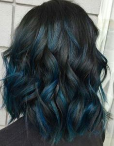 Blue Hair Highlights, Hair Color Balayage, Blue Ombre Hair, Hair Color For Black Hair, Blue Hair Streaks, Blue Brown Hair, Short Blue Hair, Black Blue Ombre, Black Colored Hair