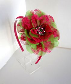 Shocking Pink and Lime Chiffon and Lace Flower Headband - Lace Flower Headband - Girls Hair Accessories - Pink & Lime Headband. $8.00, via Etsy.
