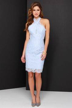 Keepsake High Roads Powder Blue Lace Halter Dress at Lulus.com!