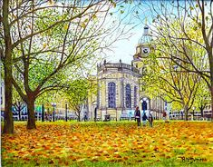 Birmingham Cathedral In Autumn. The Cathedral Church of St Phillips at Colmore Row, Birmingham when the ground was covered in autumn leaves Birmingham Cathedral, City Painting, Cathedral Church, West Midlands, Autumn Leaves, Big Ben, Buildings, Paintings, Oil
