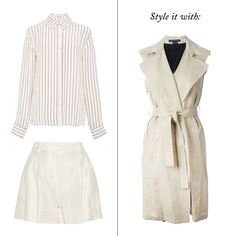 The Freezing-Office Survival Guide - Add A Sleeveless Trench Classic Shirt, Frame Denim $240 Pleated Shorts, 3.1 Phillip Lim $350 Sleeveless Trench Coat, Theory $558   The Zoe Report