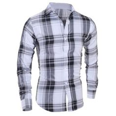 Classical Turn-Down Collar Long Sleeve Slimming Checked Men's Shirt ($11) ❤ liked on Polyvore featuring men's fashion, men's clothing, men's shirts and men's casual shirts