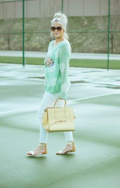 Pastels and white denim for spring
