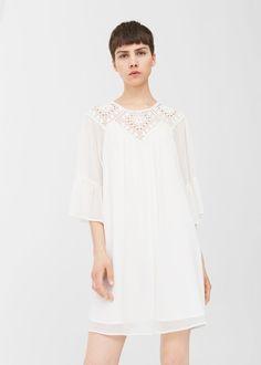 Vestido aplique guipur - Vestidos de Mujer | MANGO España