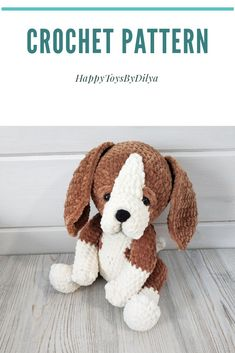 Crochet PATTERN puppy beagle dog Amigurumi plush puppy with long ears Cute puppy Crochet pattern amigurumi dog Staffed animal amigurumi Diy Crochet And Knitting, Cute Crochet, Crochet Patterns Amigurumi, Amigurumi Toys, Handmade Toys, Handmade Ideas, Unique Toys, Blanket Yarn, Cute Toys