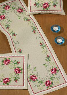 In Full Bloom Table Runner Cross Stitch Kit Hardanger Embroidery, Cross Stitch Embroidery, Hand Embroidery, Embroidery Patterns Free, Cross Stitch Patterns, Embroidery Designs, Cross Stitch Heart, Cross Stitch Flowers, Swedish Weaving