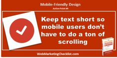 Short text keeps #mobile website visitors from having to scroll too much. #BestDamnBook
