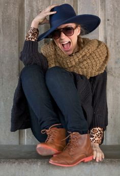I am loving how cozy this scarf looks, and how it's paired with the hat!  The shoes are adorbs, too.