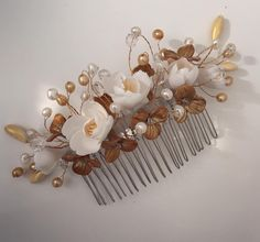 season is now! Gold and flowers Bridal Hair Flowers, Flower Hair, Hair Comb Wedding, Wedding Hair Accessories, Hair Clips, Wedding Hairstyles, Pearl Earrings, Etsy, Hair Accessory