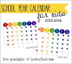 free printable school year calendar for kids - help your kids stay on top of their school assignments, teach them about organization, and help the younger ones learn about the days and months - and numbers! (psst - they're cute...mom's can use them, too!) | www.livecrafteat.com